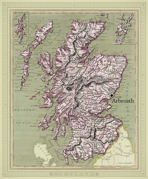 scotland detailed antique map